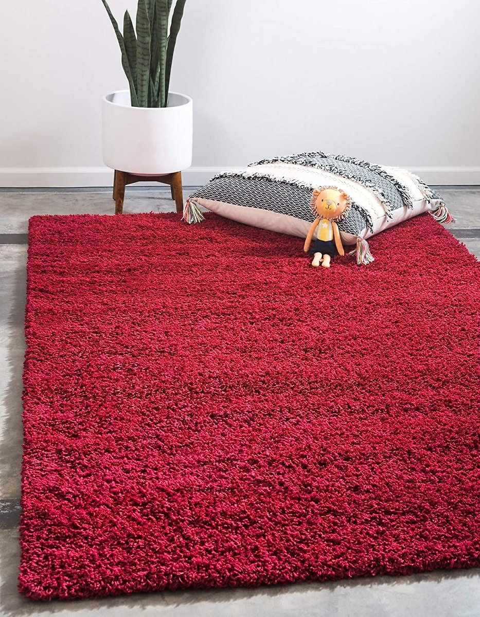 Unique Loom Solo Solid Shag Collection Modern Plush Cherry Red Area Rug (4' 0 X 6' 0)