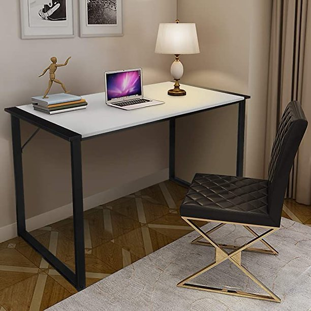 KINGSO Writing Computer Desk Modern Simple Study Desk Industrial Style Folding Laptop Table for Home Office Notebook Desk Black