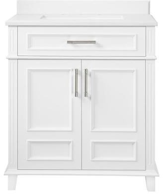 Home Decorators Collection Highgate 30 In. W X 22 In. D Bath Vanity in White with Cultured Marble Vanity Top in White with White Basin-Highgate 30W