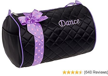 Silver Lilly Girls Dance Bag - Quilted Duffle Bag W/Lavender Bow (Black)