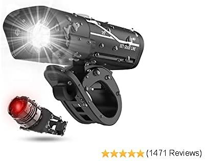[Latest 2020] USB Rechargeable Super Bike Headlight and Back Light Set, Runtime 10+ Hours 600 Lumen Bright Front Lights and Tail Rear LED, 5 Light Mode Options Fits All Bicycles, Road, Mountain