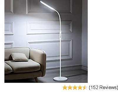 Albrillo 1800lm LED Dimmable Floor Lamp with Remote Control and Timer, Standing Light 5 Brightness Level 5 Color for Bedroom Living Room Office, White