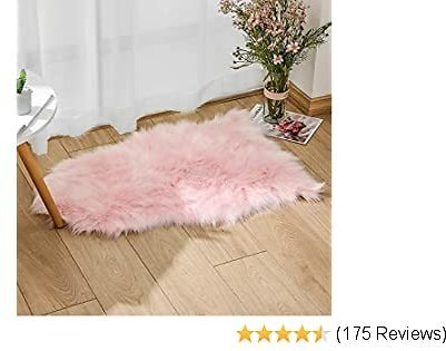 Faux Fur Sheepskin Rug 65 X 102 Cm Faux Fleece Fluffy Area Rugs Carpet for Living Room Bedroom Sofa (2.1ft X 3.3ft, Pink)