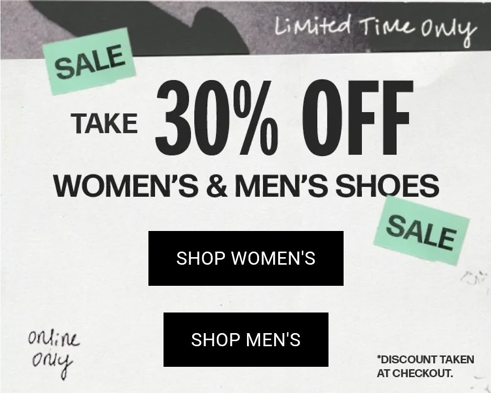 Extra 30% Off Men's Shoes + Sneakers On Sale