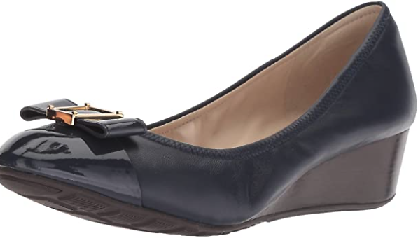 Amazon.com | Cole Haan Women's Emory Bow Wedge (40MM) Pump, Marine Blue Leather, 5 B US | Platforms & Wedges