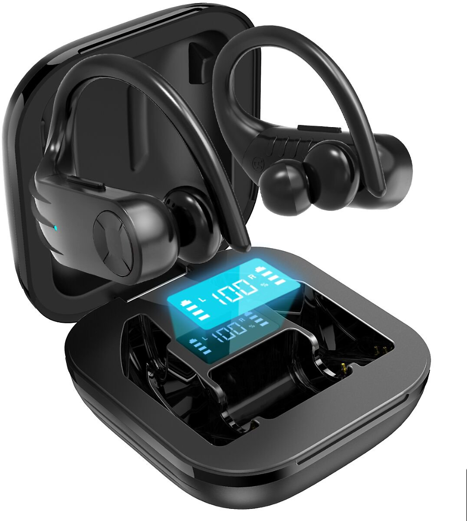 Bluetooth Earbuds with Earhooks Charging Case