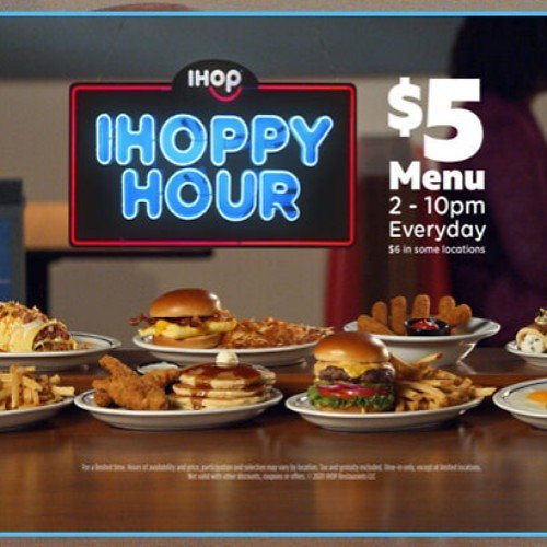 IHOPPY Hour Value Menu $5, Daily (2-10 PM) *To-Go or Dine-In