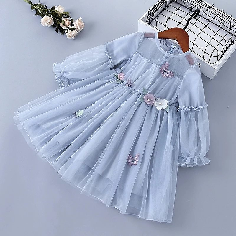 3-7 Years High Quality Spring Girl Dress 2020 New Lace Chiffon Flower Draped Ruched Kid Children Clothing Girl Princess Dress