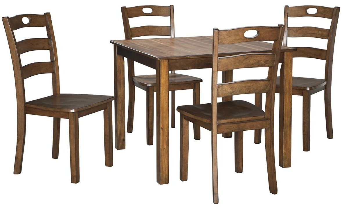 Signature Design By Ashley Hazelteen Square Dining Room Table Set - 5 Piece Set - Casual Style - Medium Brown