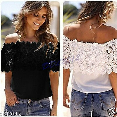 Sexy Womens Off Shoulder Shirt Tops Fashion Blouse Lace Crochet Chiffon T-shirts