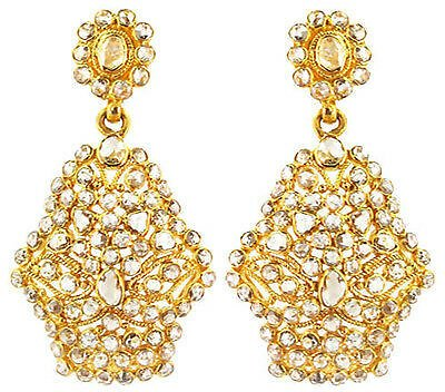 Vintage Look Solid 18 K Yellow Gold Dangle Earrings Natural Diamond Pave Jewelry