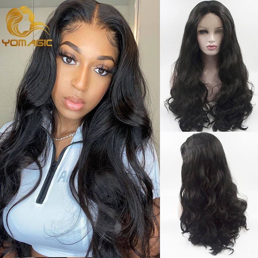 Lace Wigs with Natural Hairline Black Color Synthetic Hair Body Wave Lace Front Wigs for Women