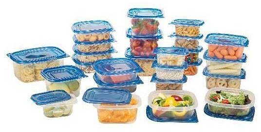30-Piece Set: Food Storage Set with Blue Lids