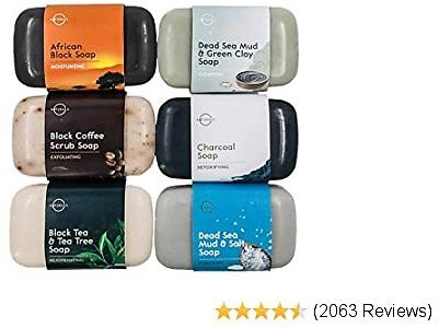 O Naturals 6-Piece Black Bar Soap Collection. 100% Natural. Organic Ingredients. Helps Acne, Repairs Skin Moisturizes, Deep Cleanse, Luxurious Face Hands Body Soap Women & Men. Triple Milled Vegan 4oz