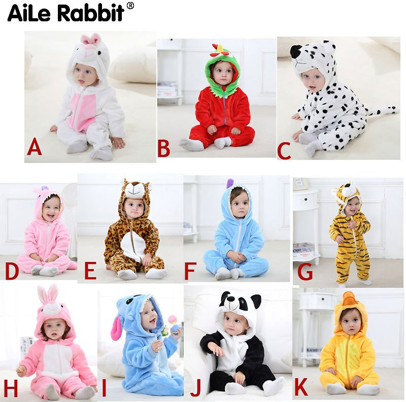 AiLe Rabbit 2018 Baby Jumpsuit Boys and Girls Newborn Clothing Hooded Baby Clothes Cute Panda Jumpsuit Baby Clothes
