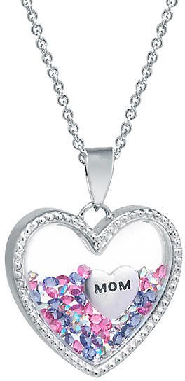 Belk Silverworks Boxed Fine Silver Plated Multi Pink Crystal and Mom Heart Shaker Pendant Necklace