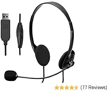 USB Headset Computer Headset with Microphone, Lightweight PC Headset Wired Headphones Business Headset for Skype Webinar Cell Phone Call Center