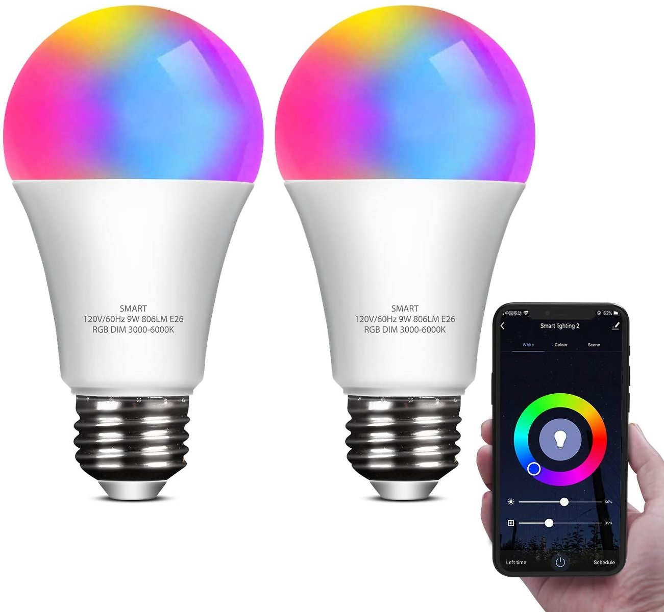 ELECWISH Smart LED Light Bulb Work with Alexa and Google Home A19 E26 9W 806lm Multicolor 2.4 GHz WiFi Dimmable Lights Bulbs Equ