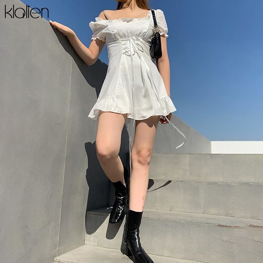 US $13.29 50% OFF|KLALIEN Fashion Elegant Bow White Female Mini Dress Summer Party Birthday Festival Cute Sexy French Romantic Silk Dress Women|Dresses| - AliExpress