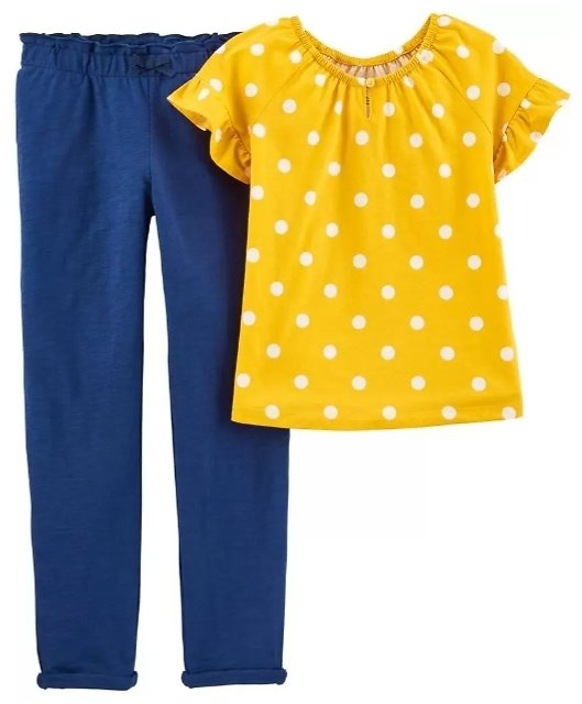 2-Piece Polka Dot Top & Slub Jersey Pant Set
