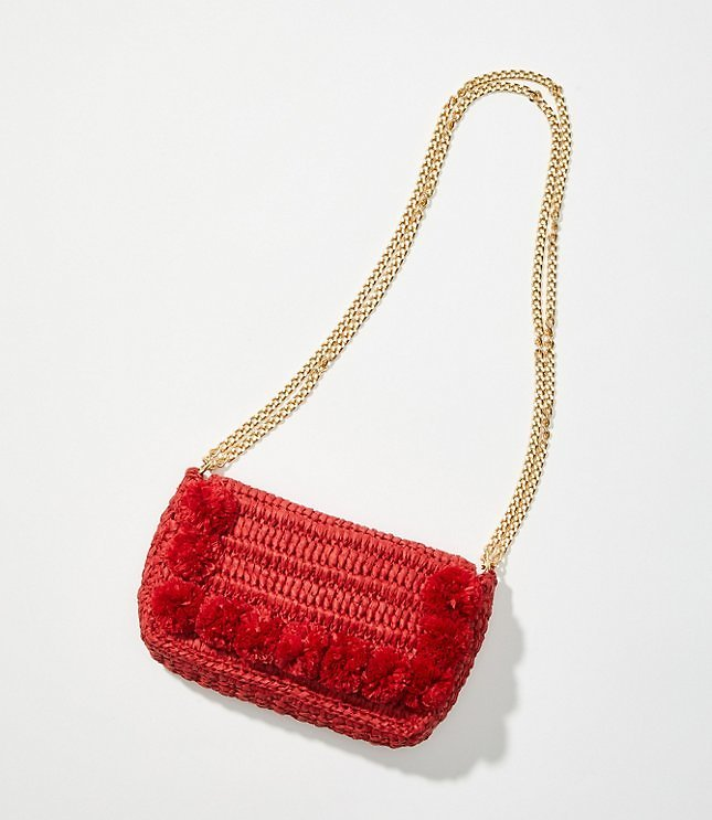 Pom Pom Straw Crossbody Bag | LOFT