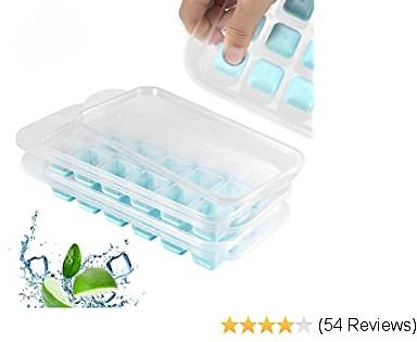 2 Packs Ice Cube Tray with Lids BPA Free, Easy Release Stackable Ice Molds with 36 Ice Trays Total,Mini Ice Cube