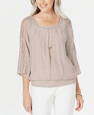 JM Collection Textured Crochet-Sleeve Necklace Gauze Top