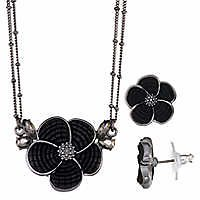 Napier Floral Pendant and Earring Set