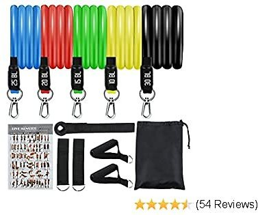 KEEPTO Resistance Bands Set, Exercise Bands with Door Anchor, Handles, Waterproof Carry Bag, Legs Ankle Straps for Resistance Training, Physical Therapy, Home Workouts Fitness