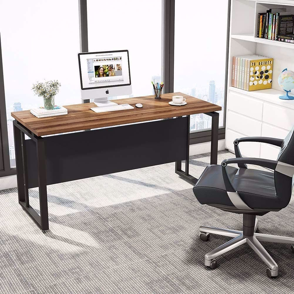 Tribesigns 55 Inches Computer Desk, Office Desk Writing Table for Workstation Home Office Desk with Clean Design,Dark Walnut + S