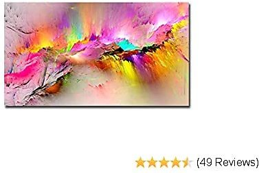 Abstract Colorful Aurora Scenery Print Canvas Poster for Living Room Pink Wall Art Decor Modern Home Decor Pictures Framed Easy to Hang (Red, 20x40inch)