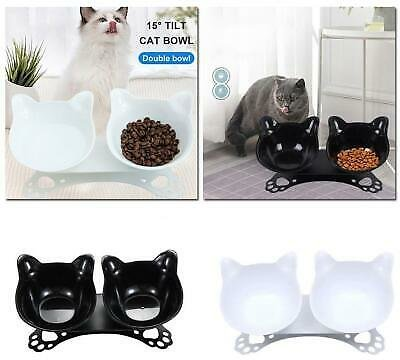 Non-slip Cat Double Bowls Raised Stand Pet Dish Food Water Bowl Dog Feeder NICE