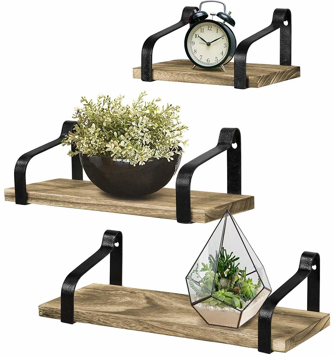 Greenco Set of 3 Rustic Wall Mounted Floating Shelves For Living Room, Dining Room, Office, Bedrooms.