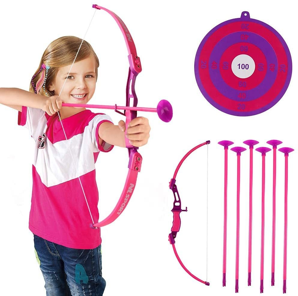 Conthfut Archery Set Kids Green Bow and Arrow Play Toy, Outdoor Hunting Game with 6 Suction Cup Arrows, Target for Boys and Girl
