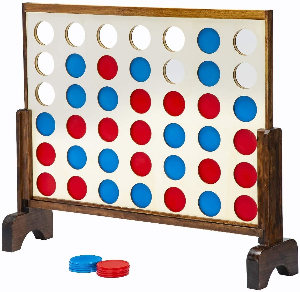 Up to 50% Off Giant Wooden 4 in a Row Game with Coins and Portable Carry Case