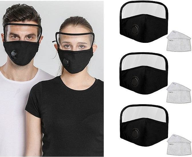 Cotton Face Mask with Eye Shield and Carbon Filters (3-Pack)