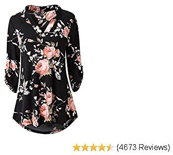 Top Zattcas Womens Floral Printed Tunic Shirts 3/4 Roll Sleeve Notch Neck Tunic Top