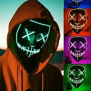 Halloween LED Purge Costume Mask Party Light Up Neon Glow In The Dark Rave