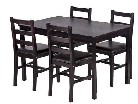 Dining Table Set, 5 Pieces Kitchen Dining Table With 4 Dining Chairs Pine Wood Kitchen Dinette Table