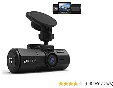 Vantrue T2 24/7 Recording Dash Cam, 1920x1080P 2'' LCD 160°Car Camera with Microwave Parking Mode, Supercapacitor, Sony Night Vision, OBD Cable, Motion Detection, Loop Recording, Support 256GB Max
