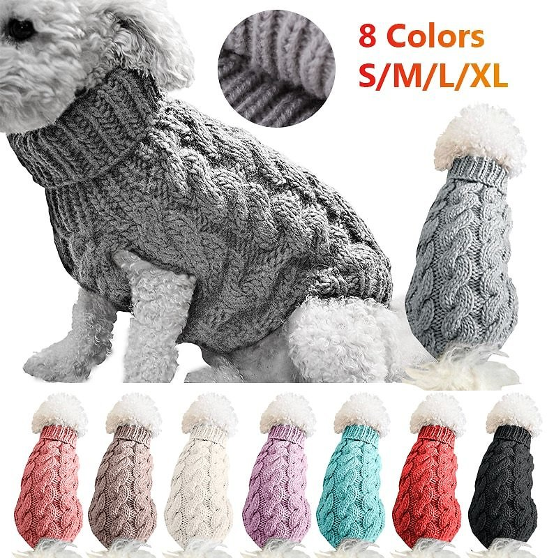 US $1.59 45% OFF|Winter Knitted Dog Clothes Warm Jumper Sweater For Small Large Dogs Pet Clothing Coat Knitting Crochet Cloth Jersey Perro #15|Cages| - AliExpress