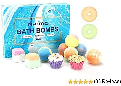 AKIMO Bath Bombs, 12 Natural Special Bath Bomb Set, Handmade Bathbombs Floating Fizzies Kit for Bubble & Spa Bath, Gifts Pack for Women Girls Mom Kids Her Valentines Birthday Christmas Anniversary