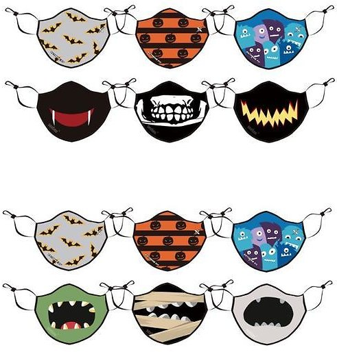 Halloween Adults and Kids Reusable Face Masks and Optional Filters - 6 Pack