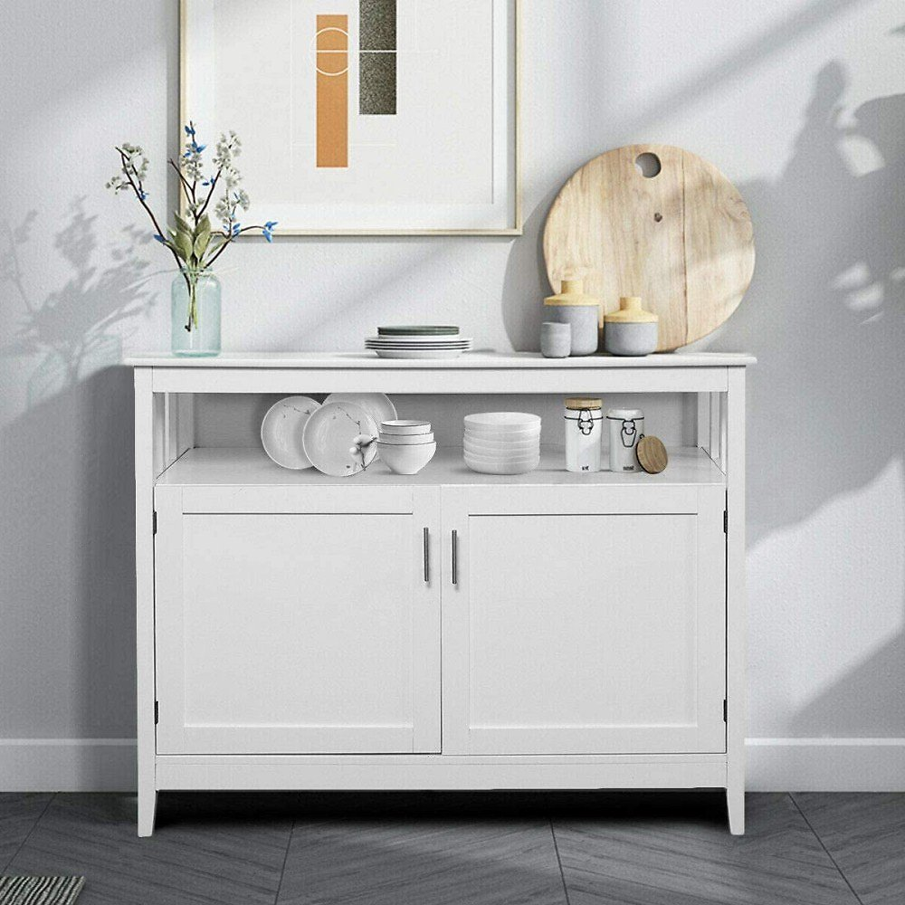Ktaxon Kitchen Storage Sideboard Dining Buffet Server Cabinet Cupboard, Free Standing Storage Chest Cabinets and Shelf,White