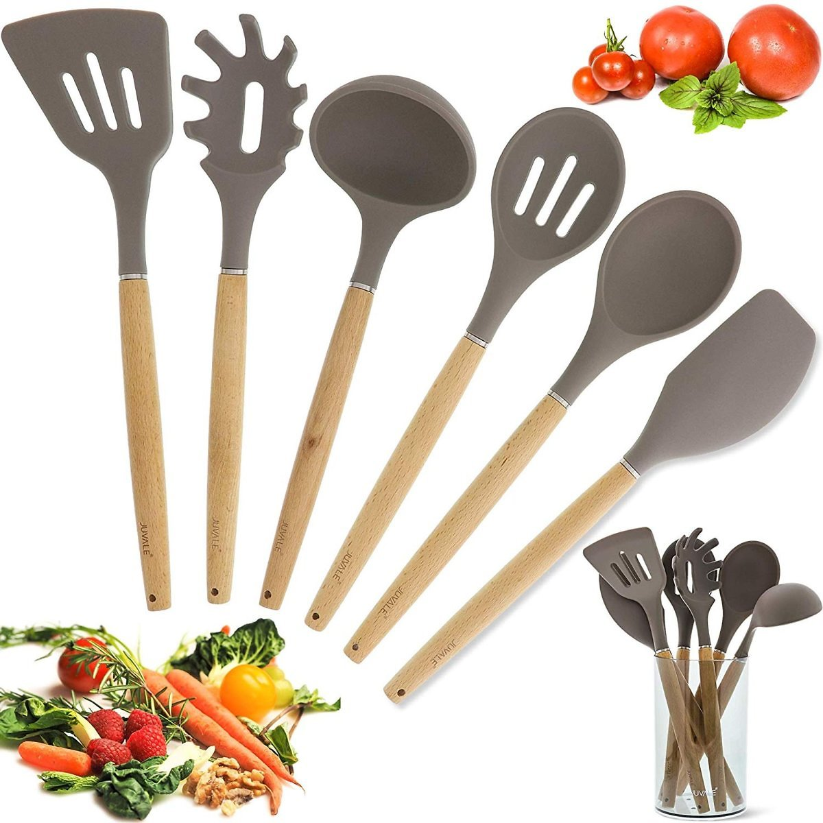 Kitchen Utensil Set - Gourmet Non-Stick Silicone Cooking Tools with Bamboo Handles - Ladle