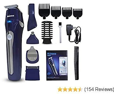 Hair Clippers for Men, 5 in 1 Multifunctional Suit, Men's Grooming Kit with Full Size Hair Trimmer, Design Trimmer, Micro Shaver, Nose Trimmer, Body Trimmer, Low Noise & Rechargeable (Blue)