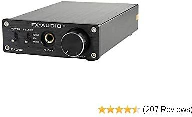 FX-Audio DAC-X6 Mini HiFi 2.0 Digital Audio Decoder DAC Input USB/Coaxial/Optical Output RCA/Headphone Amps 24Bit/96KHz DC12V (Black)