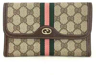 Auth GUCCI GG Logo Pattern Beige Canvas Leather Long Bifold Wallet/30699