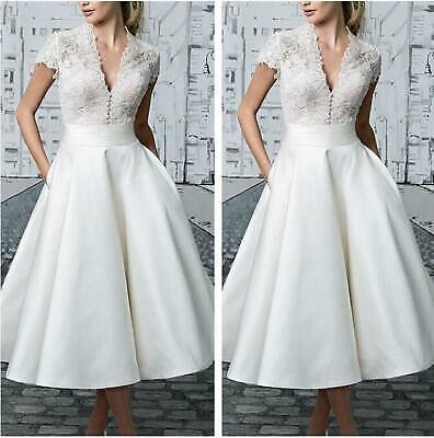 Occident Women White Lace Bride Wedding Dress Midi Gown Formal Ball Prom Dress L