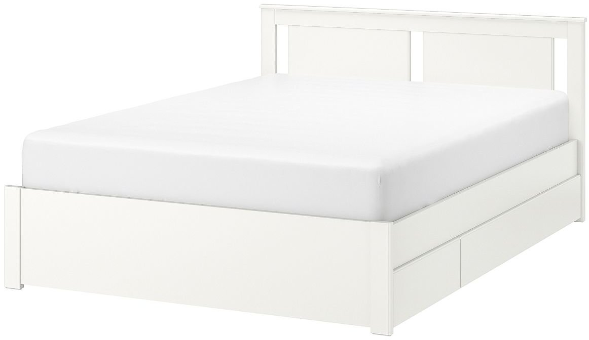 SONGESAND Bed Frame with 4 Storage Boxes, White/LuröyQueen